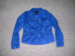 blaue Biker-Jacke von Amisu Gr. 40 L aus Wildleder-Imitat mit silberner Hardware