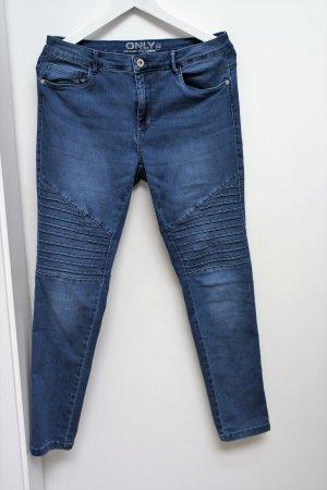 Blaue Biker-Jeans, fast ungetragen