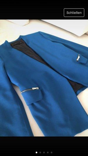 Blaue Blazer Neue Seitentaschen Figurbetont
