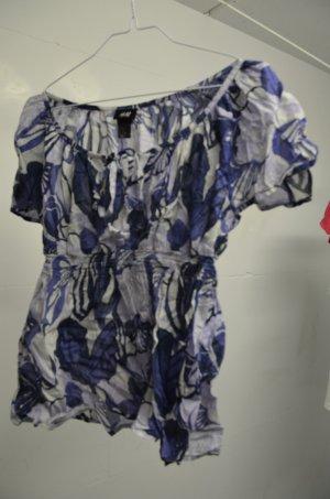 Blaue Blumenbluse H&M