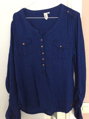 Blaue Bluse 3/4 Ärmel mit Kupferknöpfen