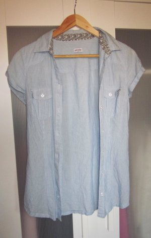 blaue Bluse, gestreift