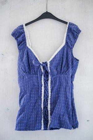 blaue Bluse im Trachtenstil Größe 34