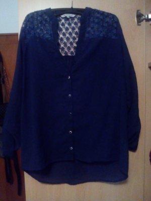 blaue Bluse L lockerfallend