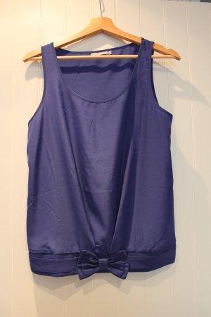 Blaue Bluse mit Gummizug und Schleife in blau