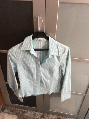 Authentic Blouse à manches longues bleu clair-gris clair coton
