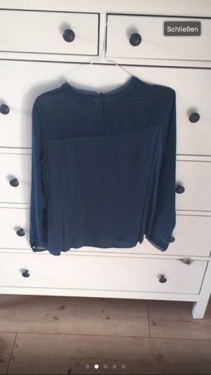 Blaue Bluse mit Transparenten Ärmeln