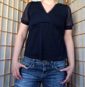 **Blaue Bluse mit transparenten Ärmeln von H&M**