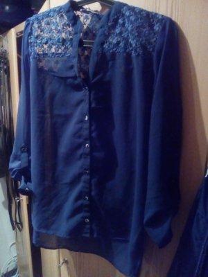blaue Bluse, transparent, L