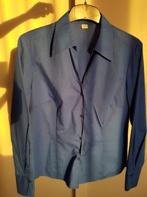 Blaue Bluse von Eterna Excellent mit V-Ausschnitt, Größe 38, NEU