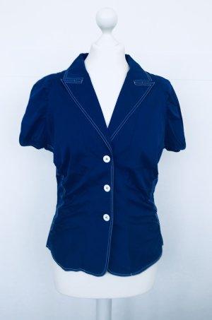 blaue Bluse von van Laack, kurzärmelig und gerafft