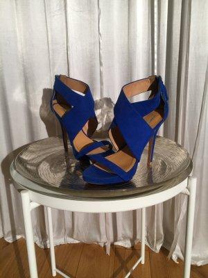 Zara Basic High Heel Sandal blue suede