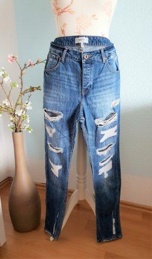 blaue Boyfriend-Jeans, used look, destroyed Jeans von Mango