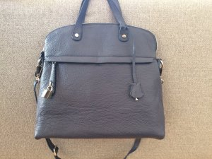Blaue Businesstasche aus echtem Leder