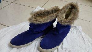 Blaue damen Schuhe mit Fell