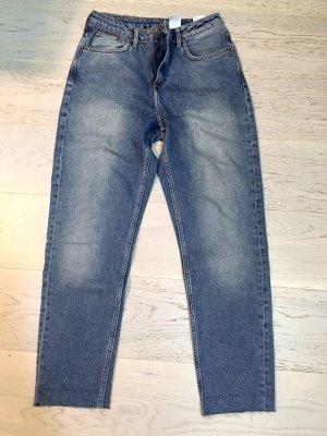 Blaue Denim Mom Jeans mit hohem Taille