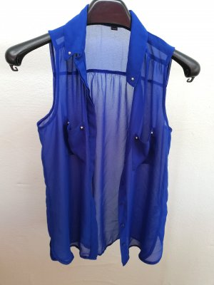 Blaue durchsichtige Bluse mit Nieten Gr. S