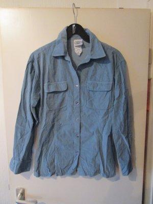 blaue Feinkord-Bluse