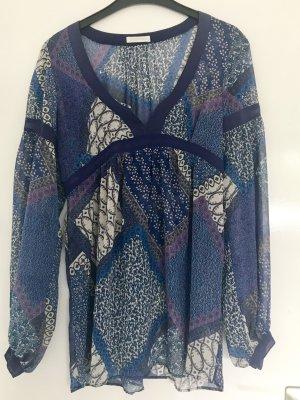 Blaue gemusterte Tunika / Bluse