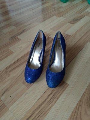 blaue glitzer pumps