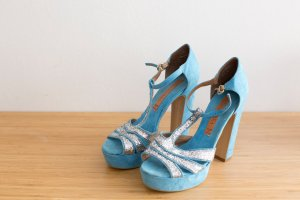 Platform High-Heeled Sandal light blue suede