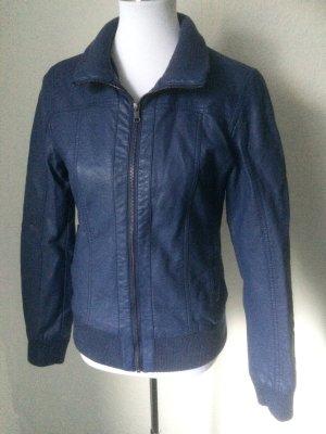 blaue / grau blaue Jacke im Lederstyle / Bikerlook - Takko -Gr. S