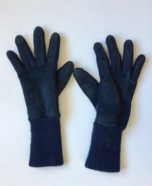 Knitted Gloves blue leather