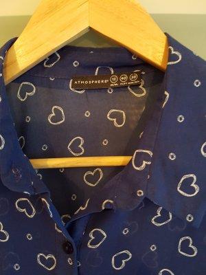 blaue Herzchen-Bluse