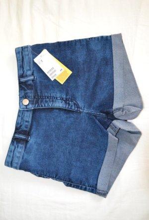 Blaue High-Waist Jeansshorts von H&M