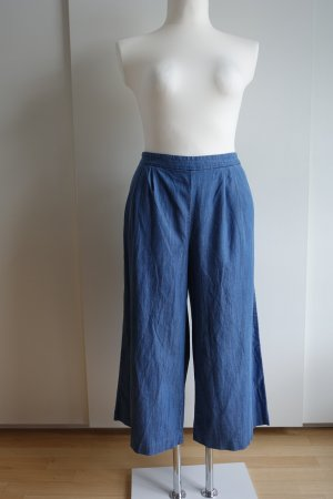 Blaue high-waisted Culottes