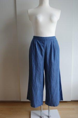 Blaue high-waisted Culottes