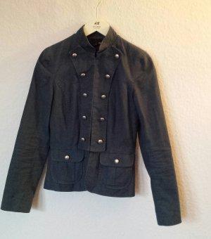Blaue Jacke mit kl. Stehkragen