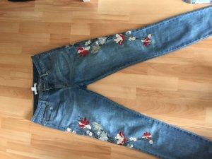 Pantalon taille haute bleu azur-rouge