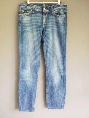 blaue Jeans mit heller Waschung von 7 for all mankind