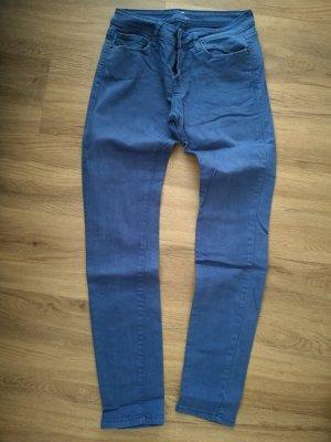 Fishbone Pantalon taille basse bleu