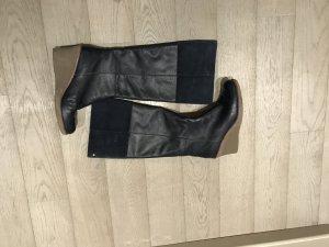 Blaue knieho Stiefel mit Keilabsatz