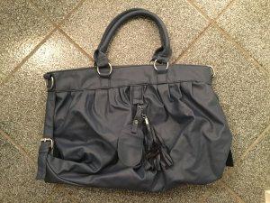 Handbag steel blue-neon blue imitation leather