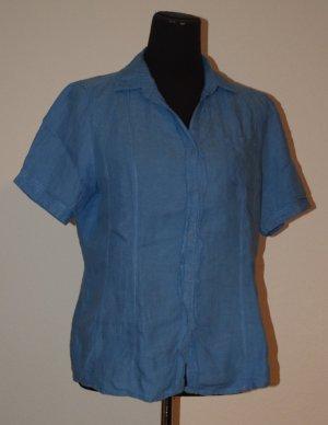 Blaue Kurzarm Bluse