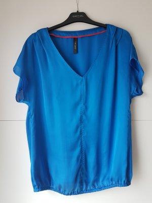 Blaue Kurzarm-Bluse von Marc Cain