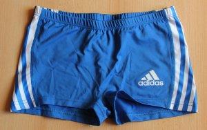 Blaue kurze Mini Stretch Sportshorts von Adidas Gr. 38