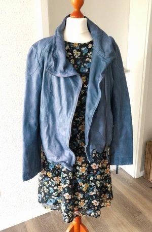 blaue Lederjacke von Anokhi Gr. M 38 Echtleder