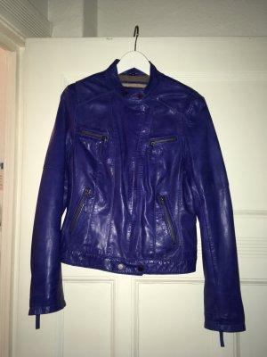 Blaue Lederjacke von Oakwood