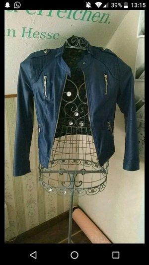blaue Lederjacke von Vestino