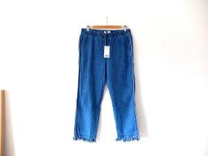 blaue Mango Jeans Jeggings Gr. L 42 jogging fransen