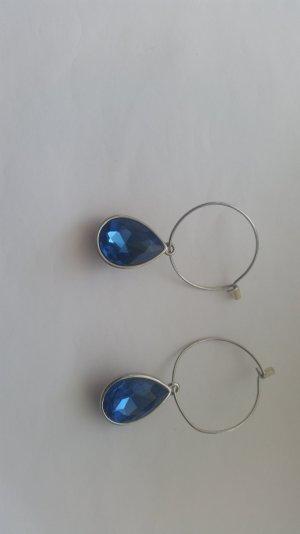 Blaue Ohrringe mit Steinchen Creolen
