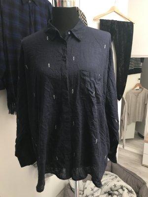 Blaue Oversize Bluse / Longbluse