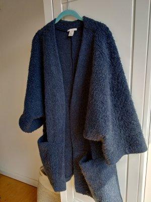 H&M Wool Jacket dark blue-slate-gray mohair