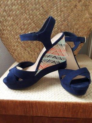 Blaue Plateau Sandalen mit Keilabsatz