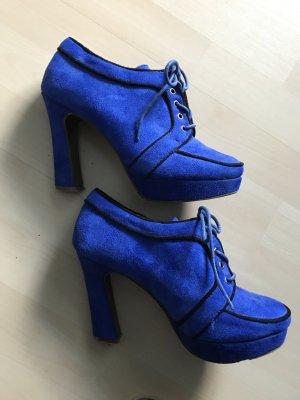 Blaue plato Schuhe im Stil der 70 ger