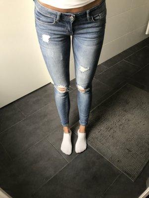 blaue ripped Jeans Skinnyjeans Anklejeans